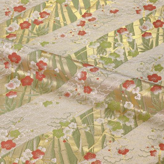 京都西陣織・金襴生地 松竹梅 10cm単位 切り売り 和柄 和風生地 はぎれ 布地 きんらん よさこい