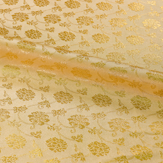 京都西陣織・金襴生地 牡丹唐草文(桑染め) 10cm単位 切り売り 和柄 和風生地 はぎれ 布地 きんらん よさこい