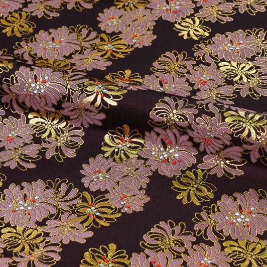 金襴生地 雅菊(古代紫) 10cm単位 切り売り 和柄 和風生地 はぎれ 布地 きんらん よさこい