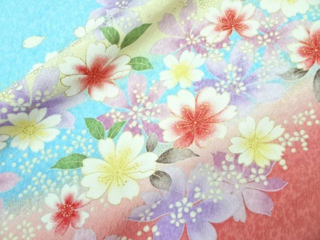 京・金彩友禅 霞に桜花(新橋) 生地巾38cm×長さ159cm単位 切り売り