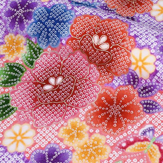 京・金彩友禅 鹿の子地牡丹(紫) 生地巾35cm×長さ73cm単位 切り売り