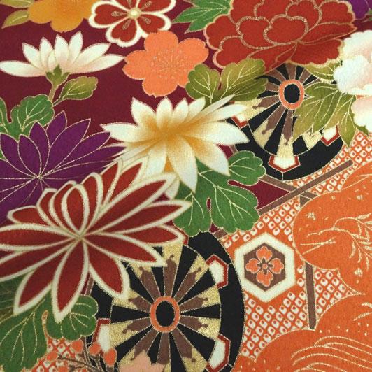 京・金彩友禅 車文に橘菊牡丹  生地巾35cm×長さ162cm単位 切り売り