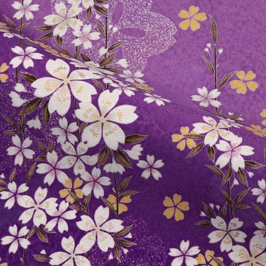 京・金彩友禅 枝桜(紫) 生地巾38cm×長さ162cm単位 切り売り