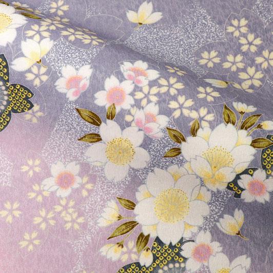 京・金彩友禅 霞菱桜(桃・鼠) 生地巾38cm×長さ158cm単位 切り売り