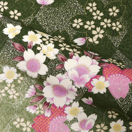 京・金彩友禅 霞菱桜(常盤色・クリーム) 生地巾38cm×長さ158cm単位 切り売り