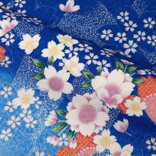 京・金彩友禅 霞菱桜(青・空色) 生地巾38cm×長さ158cm単位 切り売り