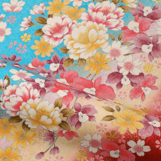 京・金彩友禅 牡丹にカトレア(空色) 生地巾38cm×長さ162cm単位 切り売り