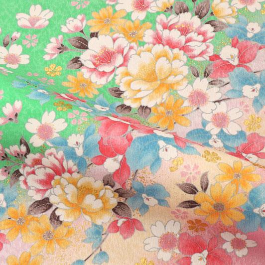 京・金彩友禅 牡丹にカトレア(若緑) 生地巾38cm×長さ162cm単位 切り売り
