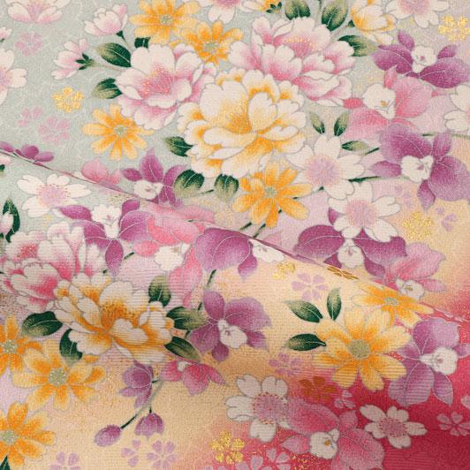 京・金彩友禅 牡丹にカトレア(青磁鼠) 生地巾38cm×長さ162cm単位 切り売り