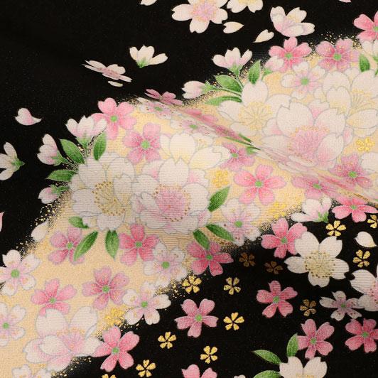 京・金彩友禅 山霞に花(黒) 生地巾39cm×長さ163cm単位 切り売り