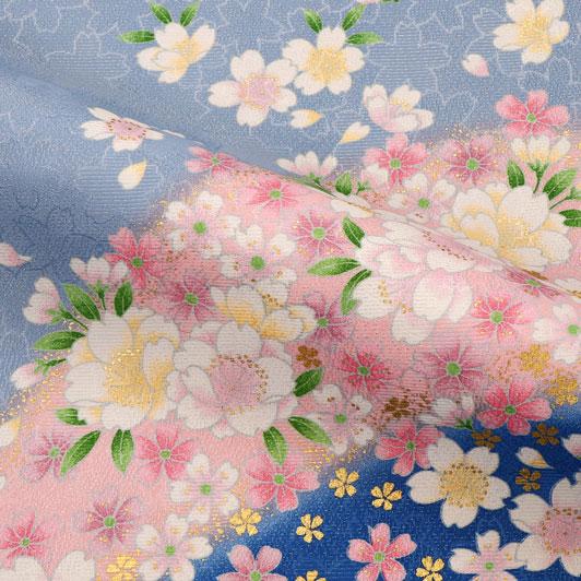 京・金彩友禅 山霞に花(青系) 生地巾39cm×長さ163cm単位 切り売り