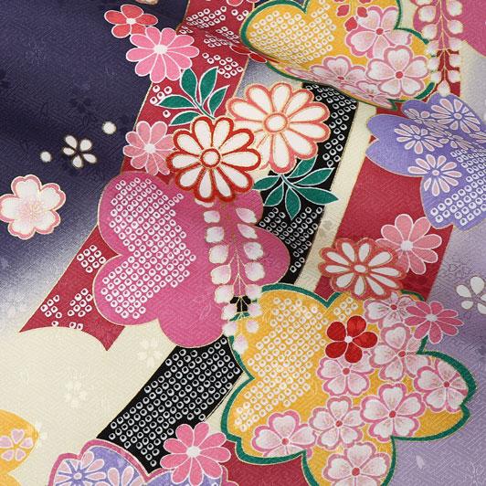 京・金彩友禅 束ねのしに花 生地巾37cm×長さ159cm単位 切り売り