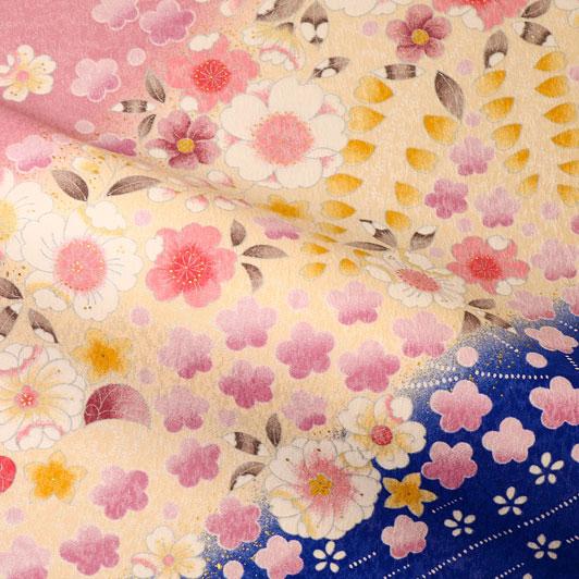 京・金彩友禅 花霞に雪持花(青系) 生地巾38cm×長さ163cm単位 切り売り