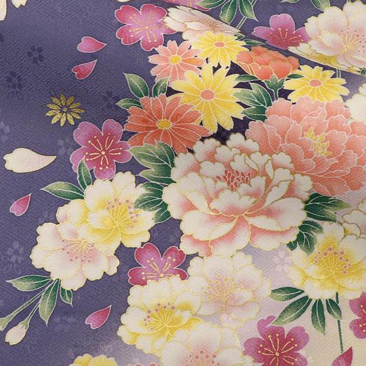 京・金彩友禅 八重桜に牡丹菊花(藤) 生地巾37cm×長さ158cm単位 切り売り