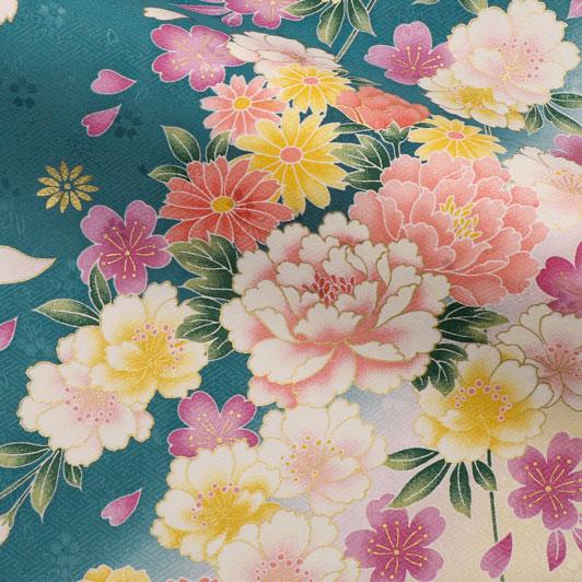 京・金彩友禅 八重桜に牡丹菊花(浅縹色) 生地巾37cm×長さ158cm単位 切り売り