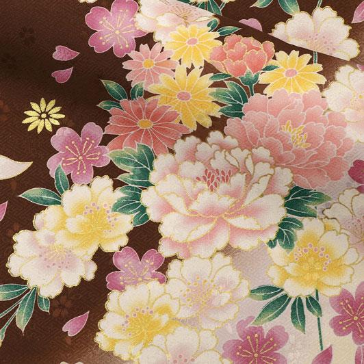 京・金彩友禅 八重桜に牡丹菊花(檜皮色) 生地巾37cm×長さ158cm単位 切り売り