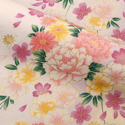 京・金彩友禅 八重桜に牡丹菊花(白) 生地巾37cm×長さ158cm単位 切り売り