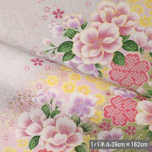 京・金彩友禅 箔流し桜花文 生地巾39cm×長さ162cm単位 切り売り