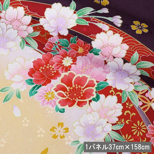 京・金彩友禅 束ねのし菊花(古代紫) 生地巾37cm×長さ158cm単位 切り売り