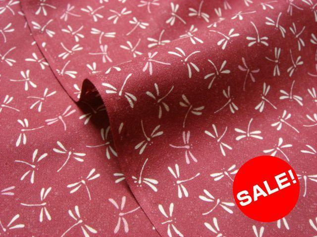 お買い得カットクロス 綿 小紋 トンボ(赤) (生地幅110cm×長さ98cm)