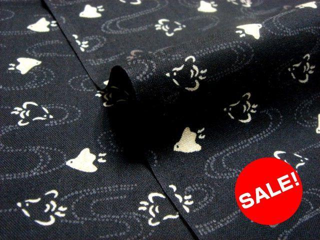 お買い得カットクロス 綿 小紋 浜千鳥(黒) (生地幅110cm×長さ57cm)