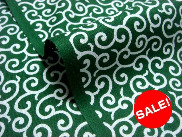 お買い得カットクロス 綿 唐草 小(緑) (生地幅110cm×長さ90cm)