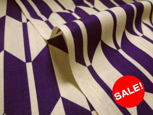お買い得カットクロス 綿 小紋 矢絣文様(紫) (生地幅110cm×長さ77cm)