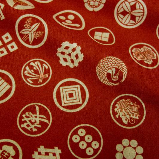 綿 和柄 丸紋(赤) 1m単位 切り売り