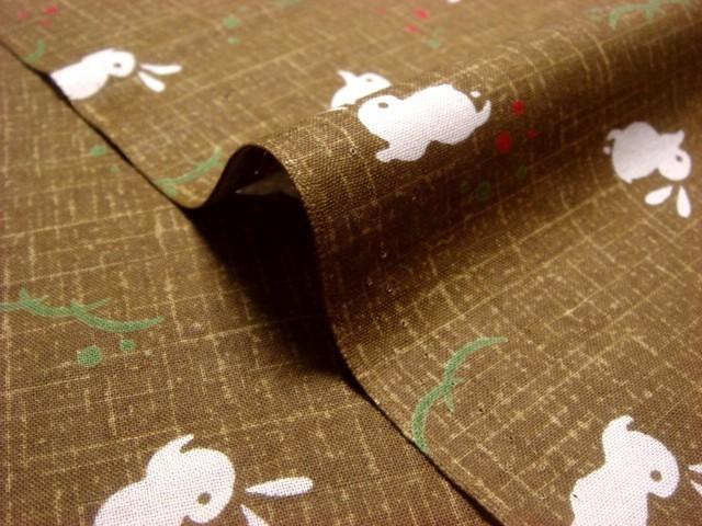 綿 和柄 兎(黄土) 1m単位 切り売り