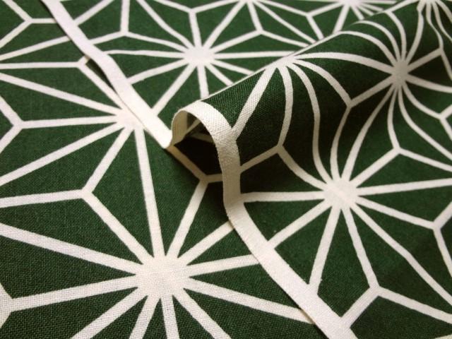 お買い得カットクロス (50cm) 綿 和柄 麻葉文様  (緑)