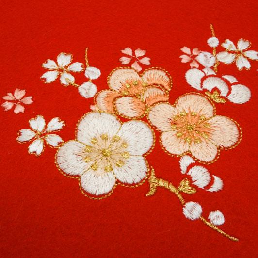 毛氈(もうせん) 桜に枝梅刺繍