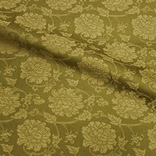 京都西陣織・正絹 錦裂 牡丹(抹茶) 10cm単位 切り売り