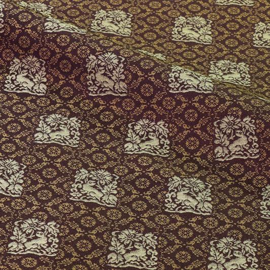 京都西陣織・正絹 錦裂 花兎錦(古代紫) 10cm単位 切り売り