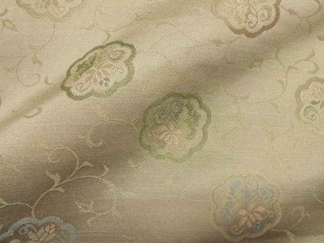 京西陣・正絹 錦裂 桑染色花輪囲