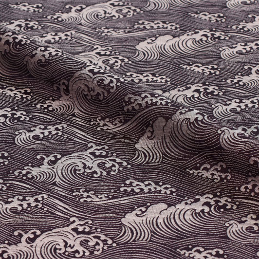 京都西陣織・正絹 錦裂 波文(紫) 10cm単位 切り売り