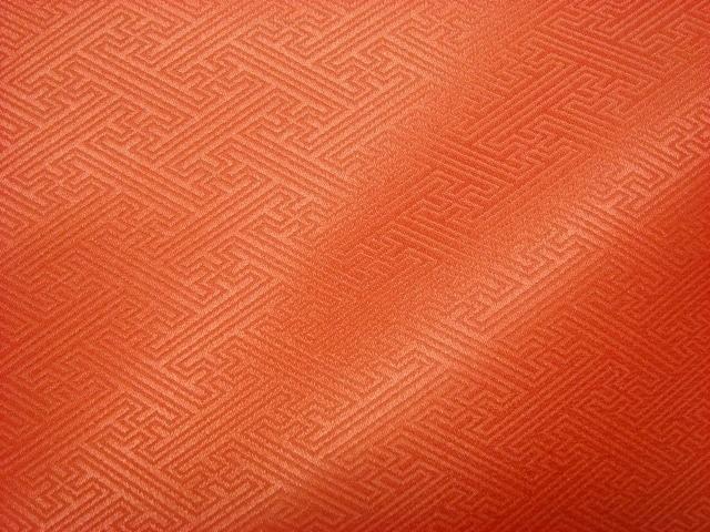 京 綸子・りんず 紗綾形(橙) 50cm単位 切り売り