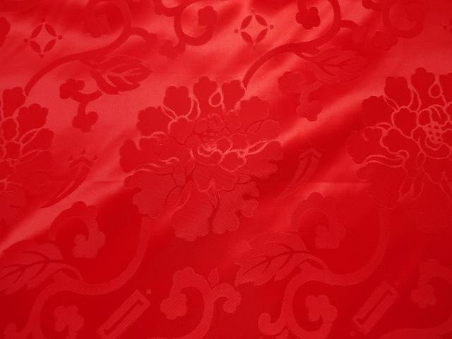 エステル 綸子・りんず 牡丹(赤) 50cm単位 切り売り