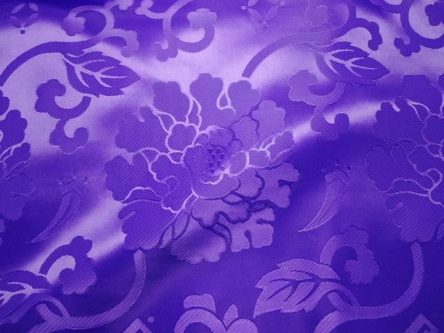 エステル 綸子・りんず 牡丹(紫) 50cm単位 切り売り