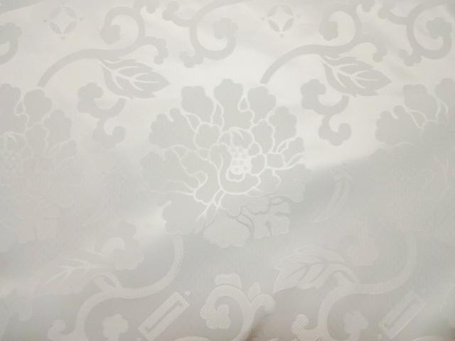 エステル 綸子・りんず 牡丹(白) 50cm単位 切り売り