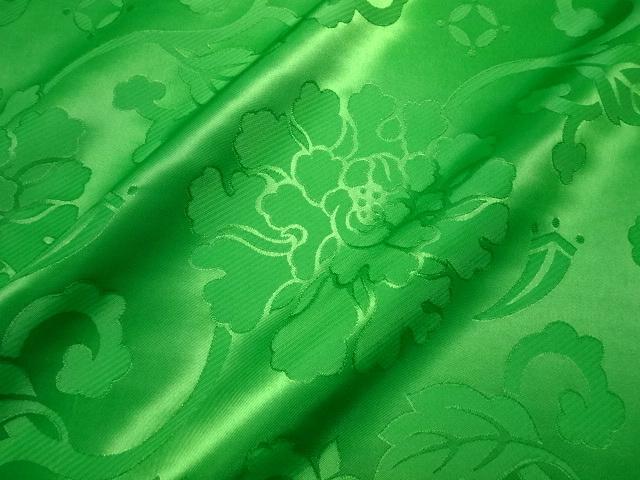 エステル 綸子・りんず 牡丹(緑) 50cm単位 切り売り