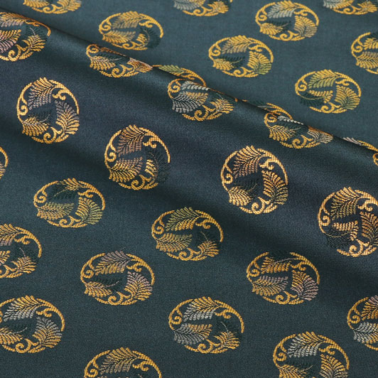 京都西陣織・正絹金襴 生地 羊歯文(鉄紺) 10cm単位 切り売り