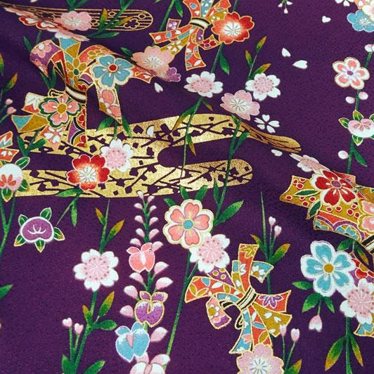 京・正絹金彩友禅 しだれ桜に束ね熨斗(古代紫) 10cm単位 切り売り
