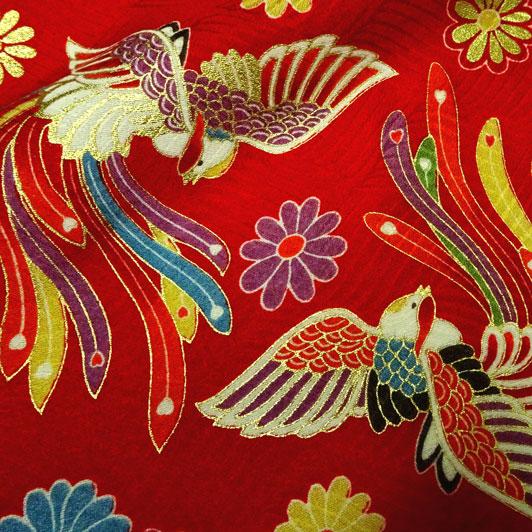 京・正絹金彩友禅 花と鳳凰(赤) 生地巾35cm×長さ73cm単位 切り売り
