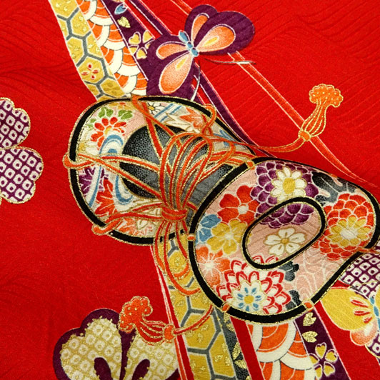 京・正絹金彩友禅 のし鼓鳳凰(赤) 生地巾35cm×長さ73cm単位 切り売り
