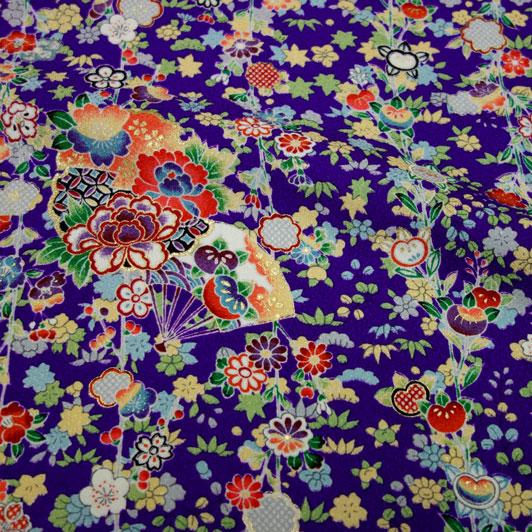 京・正絹金彩友禅 扇面花の縞(紫) 10cm単位 切り売り