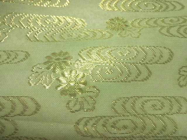 正絹 紗 箔入 糊付 観世水文 (緑)
