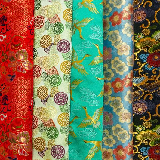 金襴織物 はぎれ 色々 お試し 5枚セット(五)