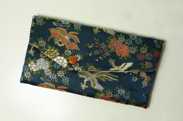 数珠袋 花と鳳凰(鉄紺)