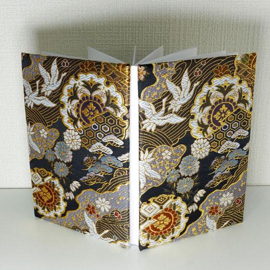 御朱印帳L判サイズ 金襴織物 道長に華文鶴 刀ミュ