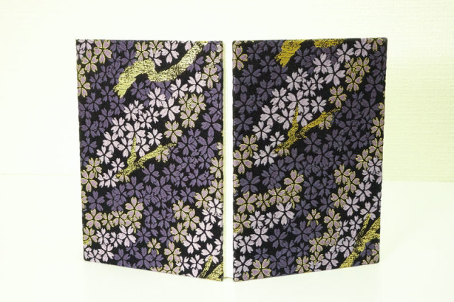 御朱印帳 金襴織物 枝桜(紫)